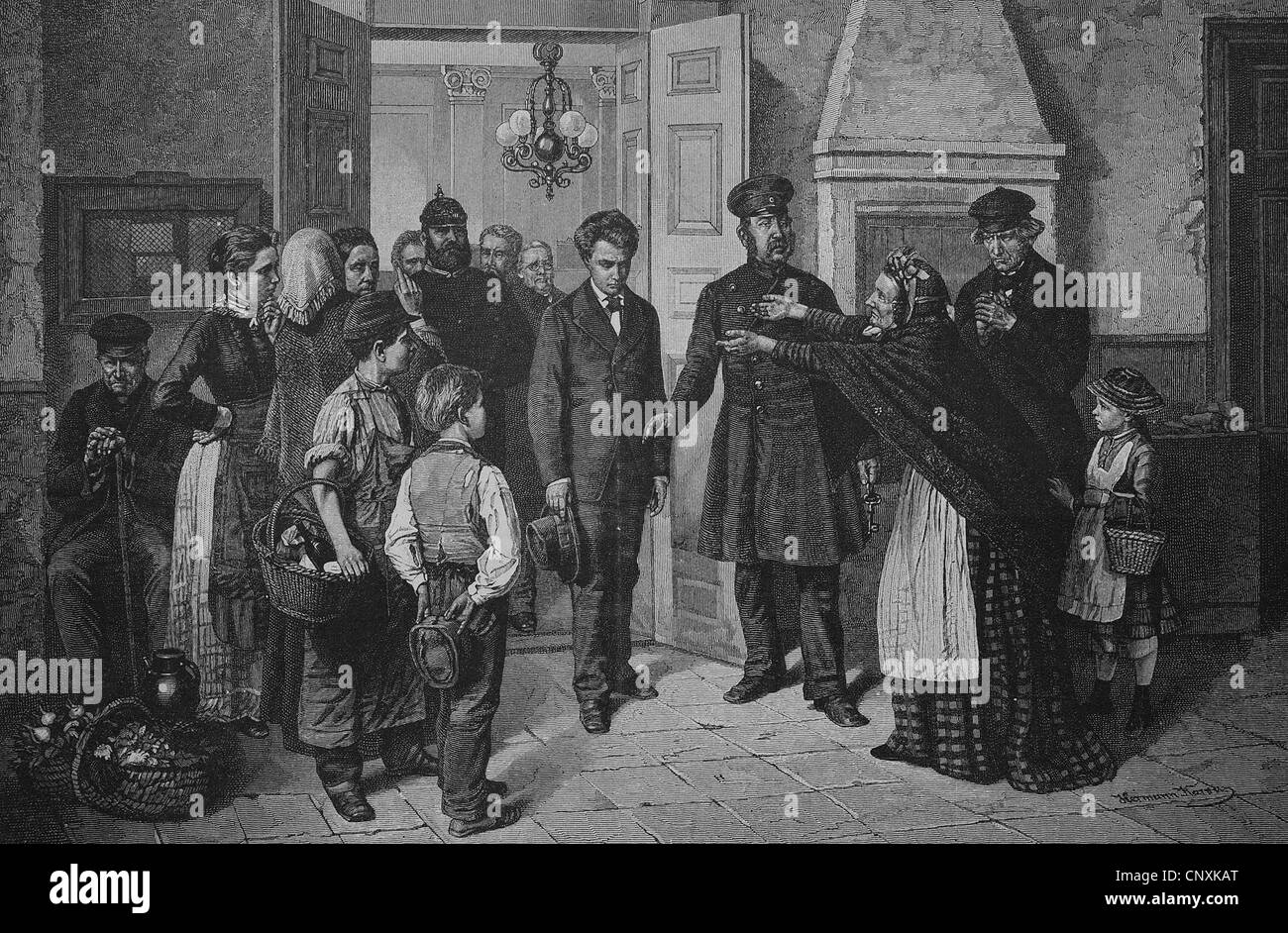 Verbrecher gefangen, historische Gravuren, 1883 Stockbild