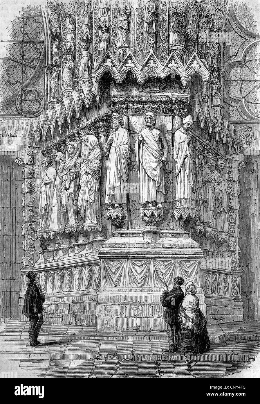 Portal der Kathedrale Reims, Frankreich, historische Holzstich ca. 1888 Stockbild