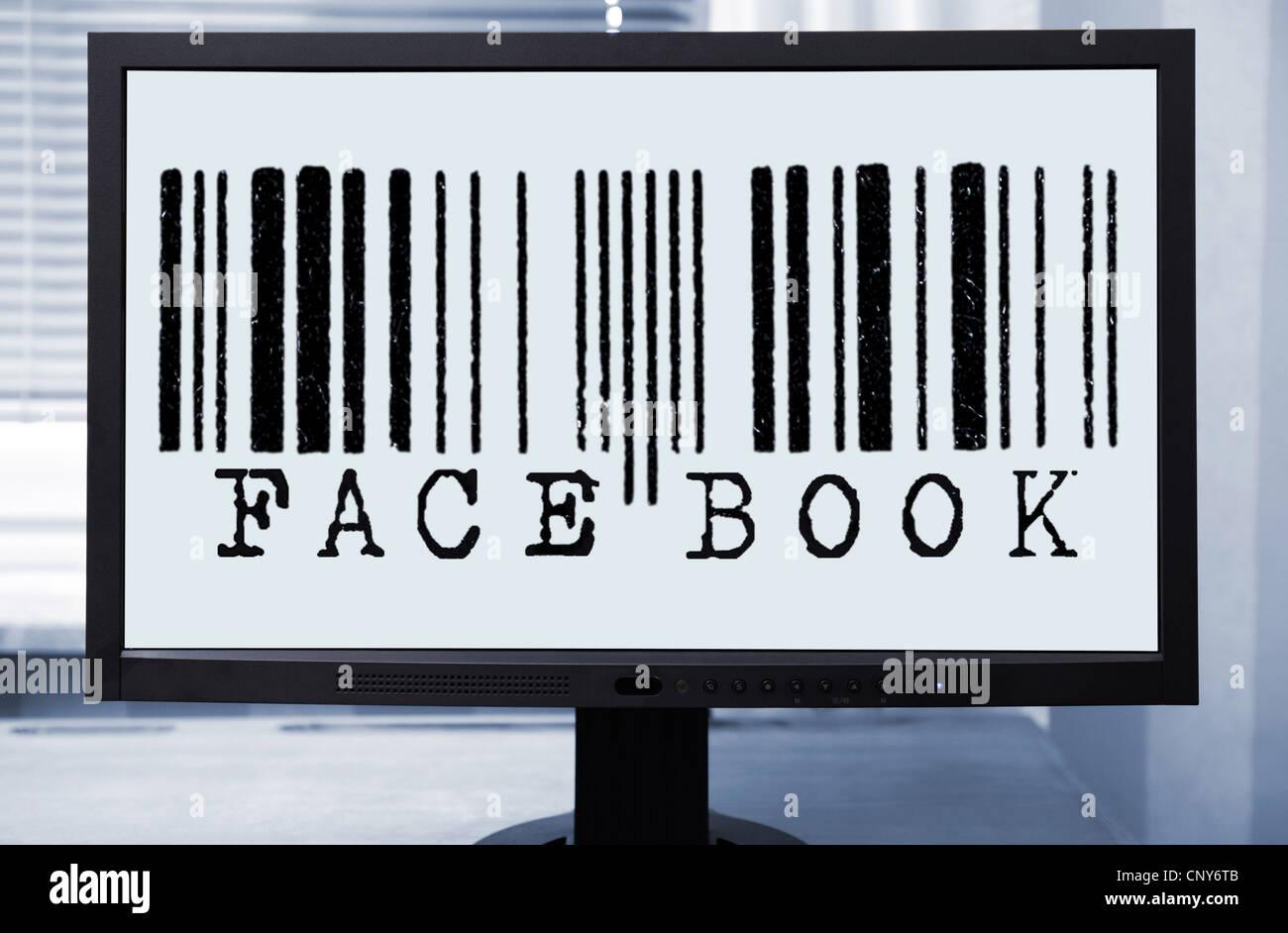 """Barcode mit """"Facebook""""-Inschrift auf einem Computermonitor symbolisiert die Assimilation der personenbezogenen Stockbild"""