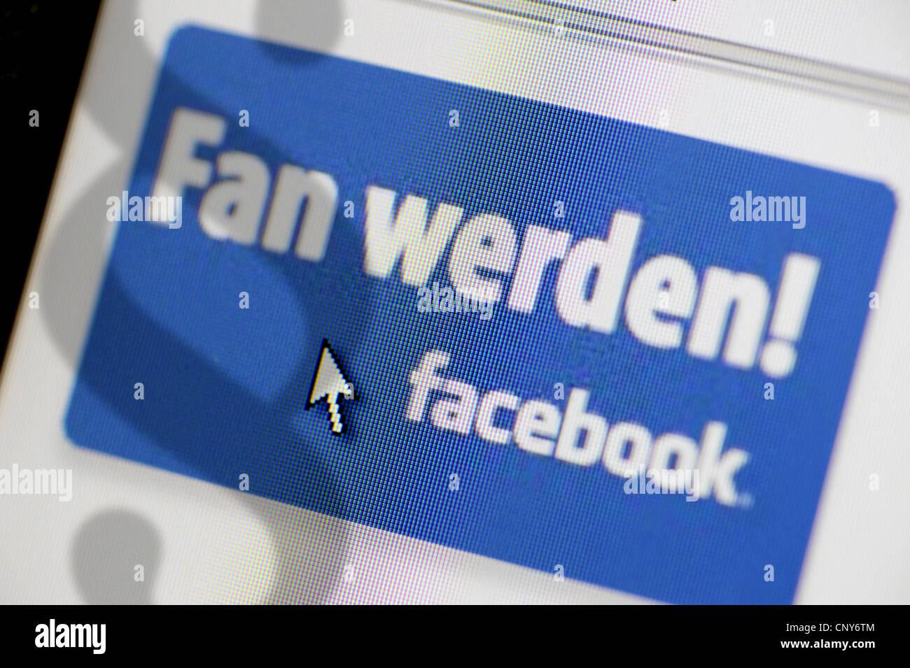 """""""Werde ein Fan""""-Button bei Facebook schattiert mit Abschnitt Zeichen symbolisiert die Plattform rechtlich Stockbild"""