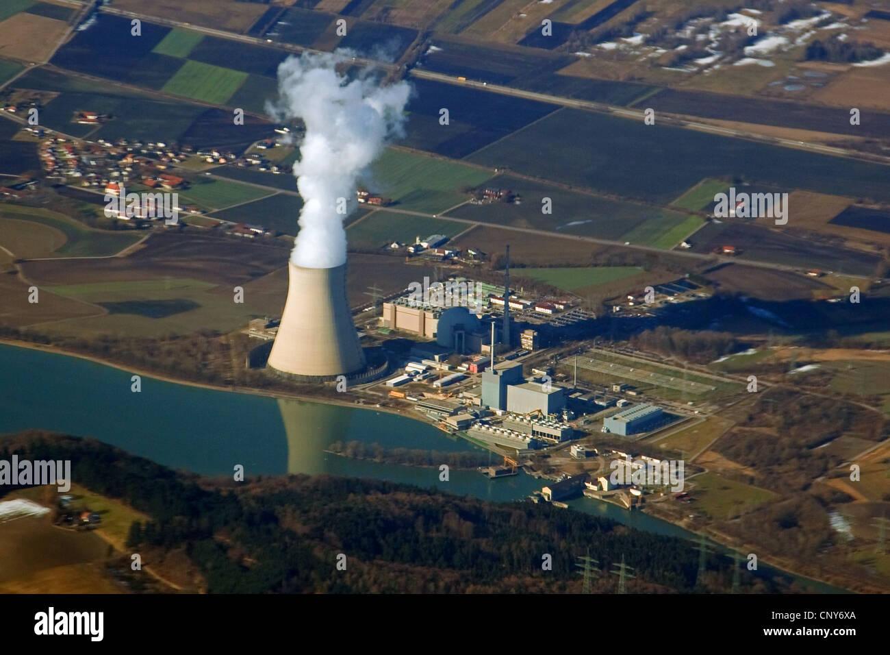 Nuclear Power Station Isar, Deutschland, Bayern Stockbild