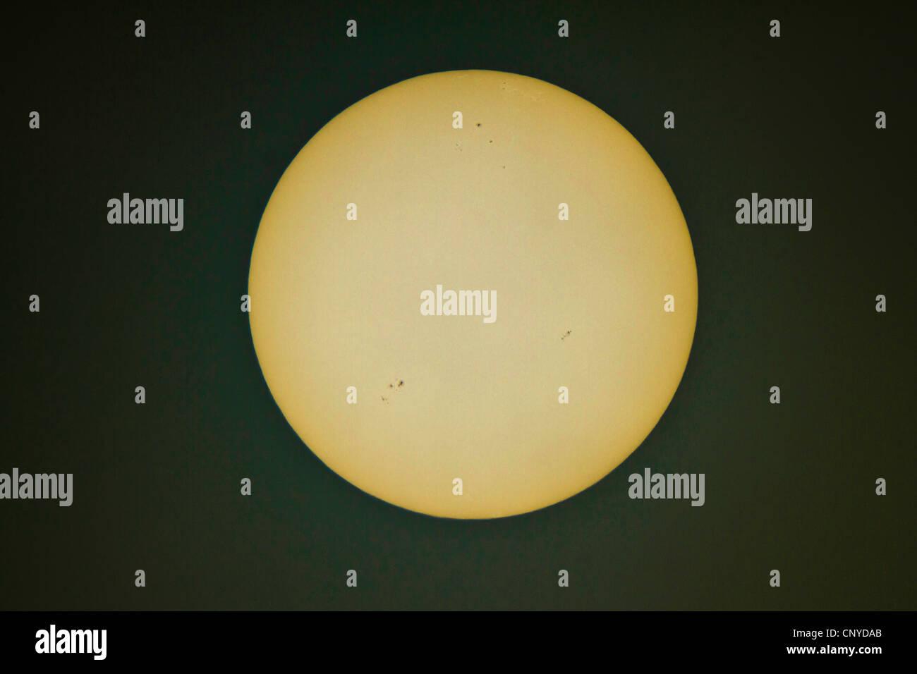 Sonnenscheibe mit Sonnenflecken Stockbild