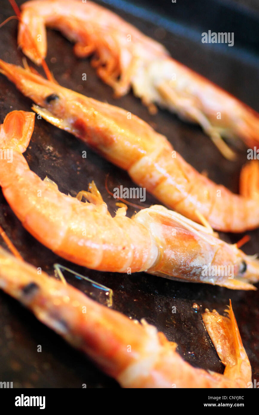 Fisch und Meeresfrüchte essen, Garnelen, Krustentiere, Snack, Küche, Orange, gebraten, zubereitet, Zutat, Stockbild
