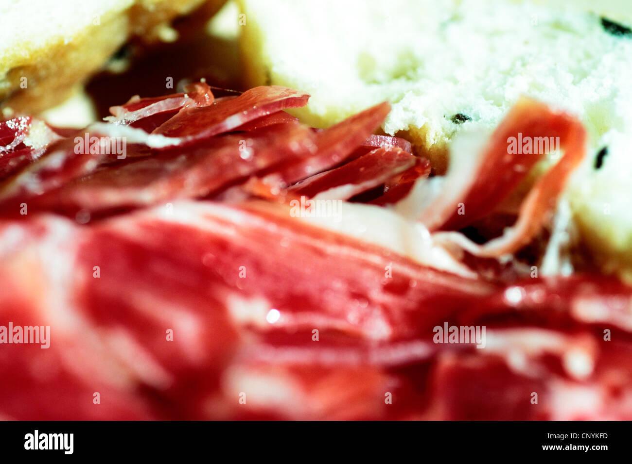 Iberische, Nahrung, Schwein, Serrano, Fleisch, Gastronomie, Feinkost, Dehesa, geheilt, Spanien, Jabugo, mediterran, Stockbild