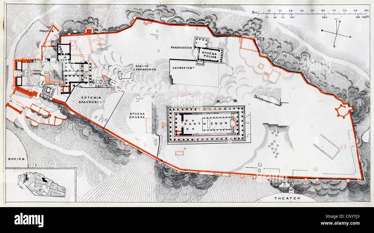Geographie reisen griechenland athen akropolis planen holzstich 19 jahrhundert - Planen englisch ...