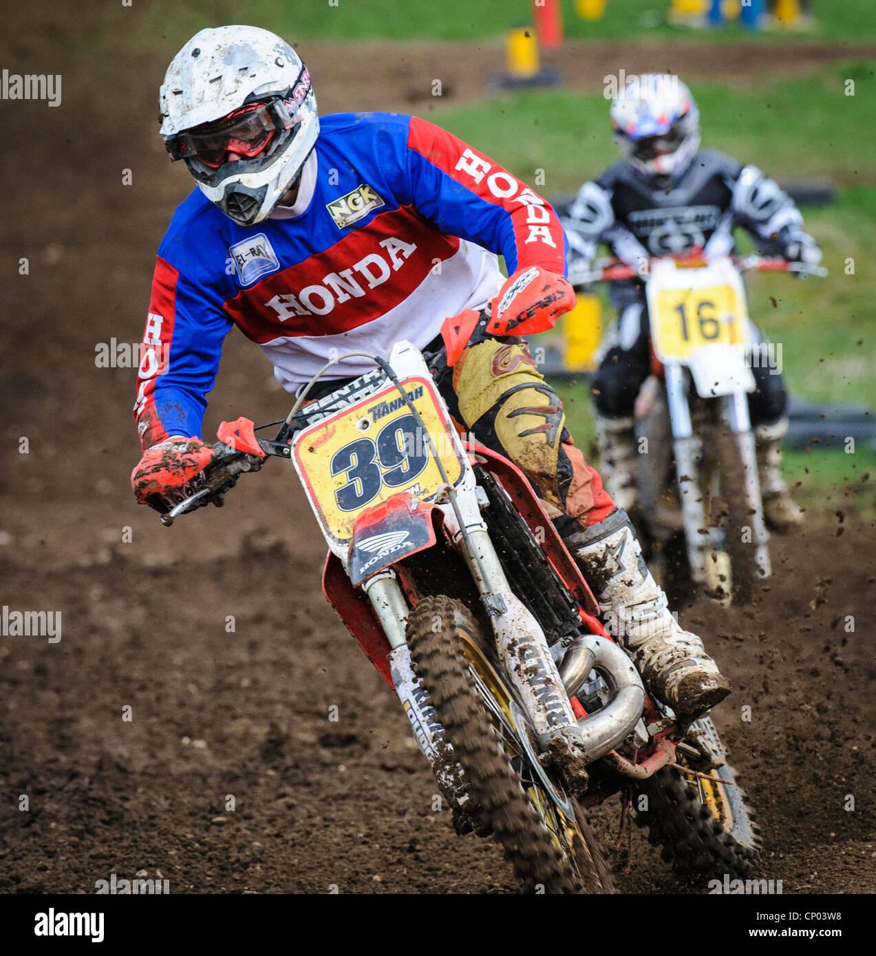Motocross-Action in Tinto Park South Lanarkshire, Schottland Stockbild