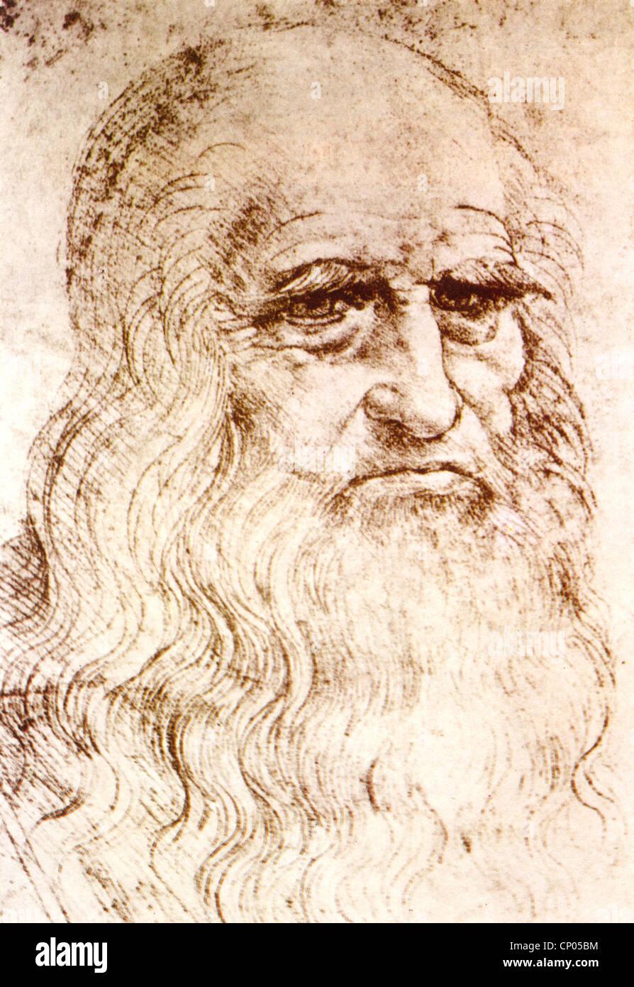 LEONARDO da VINCI (1452-1519) italienischer Renaissance Universalgelehrter - Selbstportrait in Rötel über Stockbild