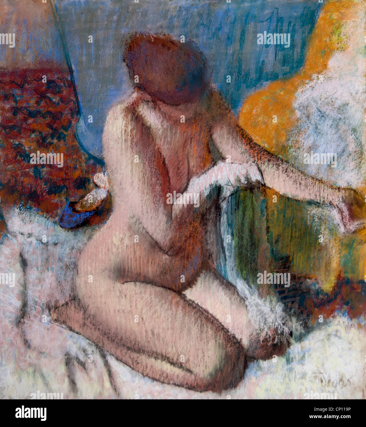 La Sortie du Bain - die Ausgabe des Bades von Edgar Degas 1834-1917 Frankreich Französisch Stockbild