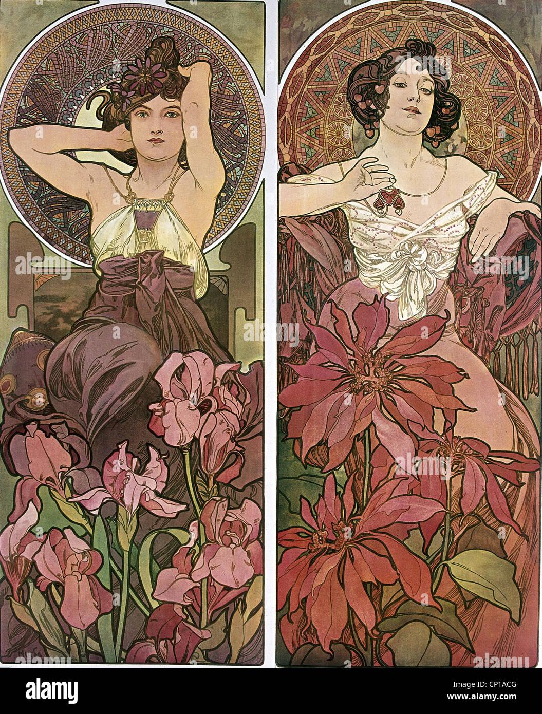 Bildende Kunst, Mucha, Alfons (1860-1939), Plakat, um 1900, zwei Frauen, sitzen, Blumen, Haar, Jugendstil, Alphonse, Stockbild