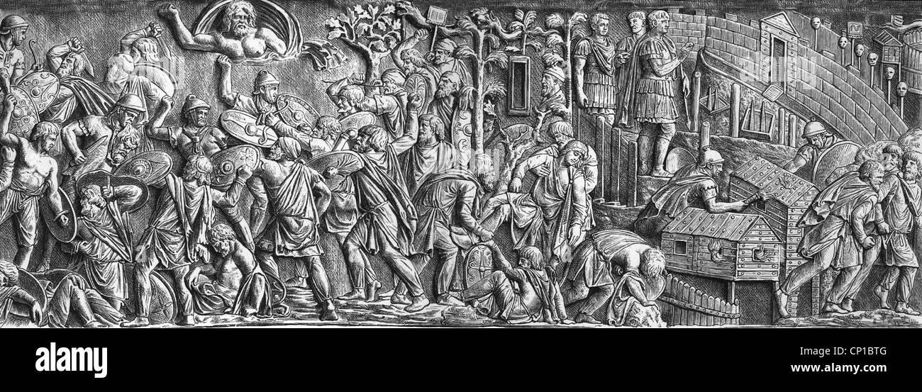 Events, zweiten dakischen Krieges 101-105, Engagement und Zerstörung eines Dorfes vor einer belagerten Stadt, Stockbild
