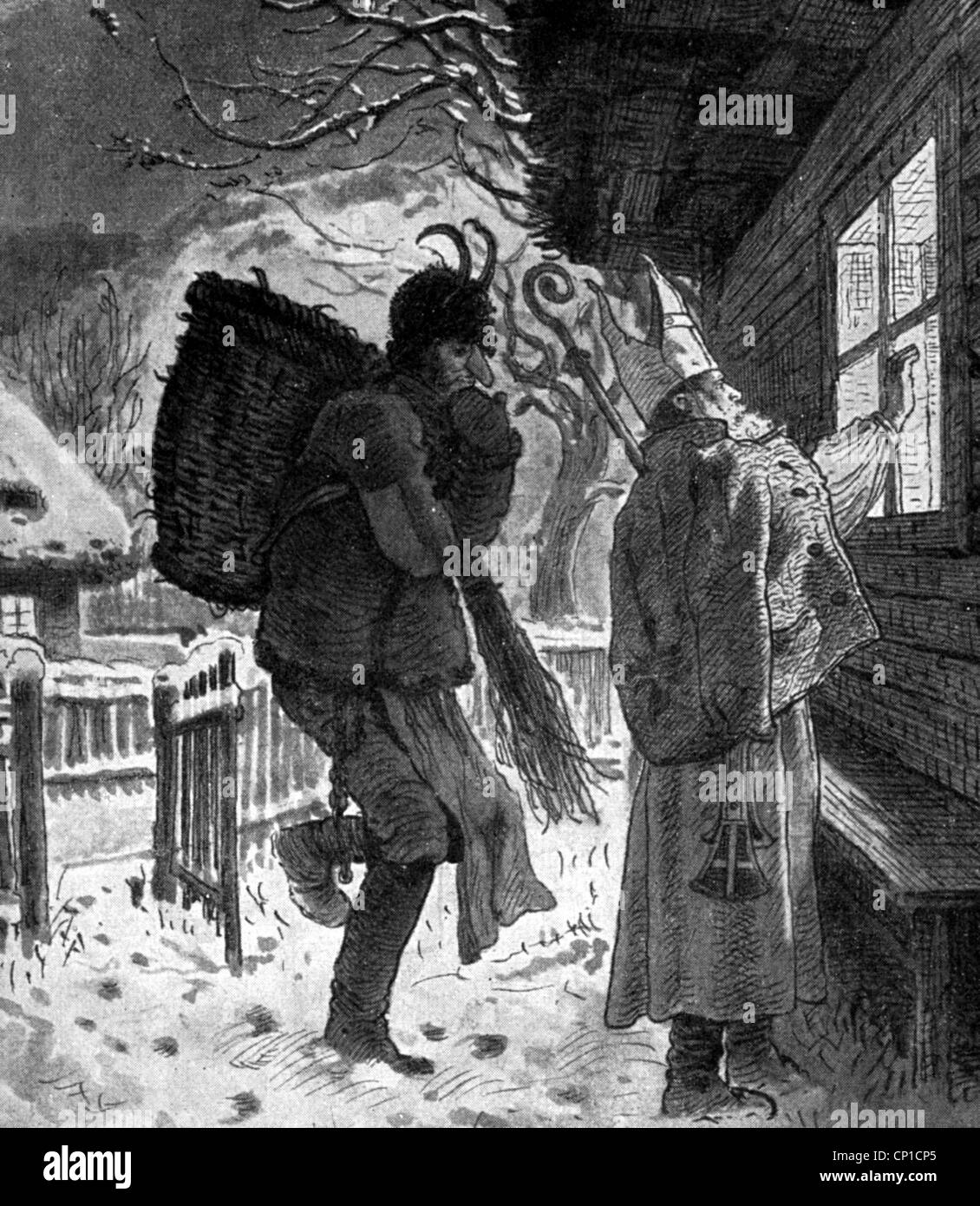 Weihnachten, Weihnachtsmann / Santa Claus/St. Nikolaus, St. Nikolaus, St. Nikolaus und sein Begleiter Knecht Ruprecht Stockbild