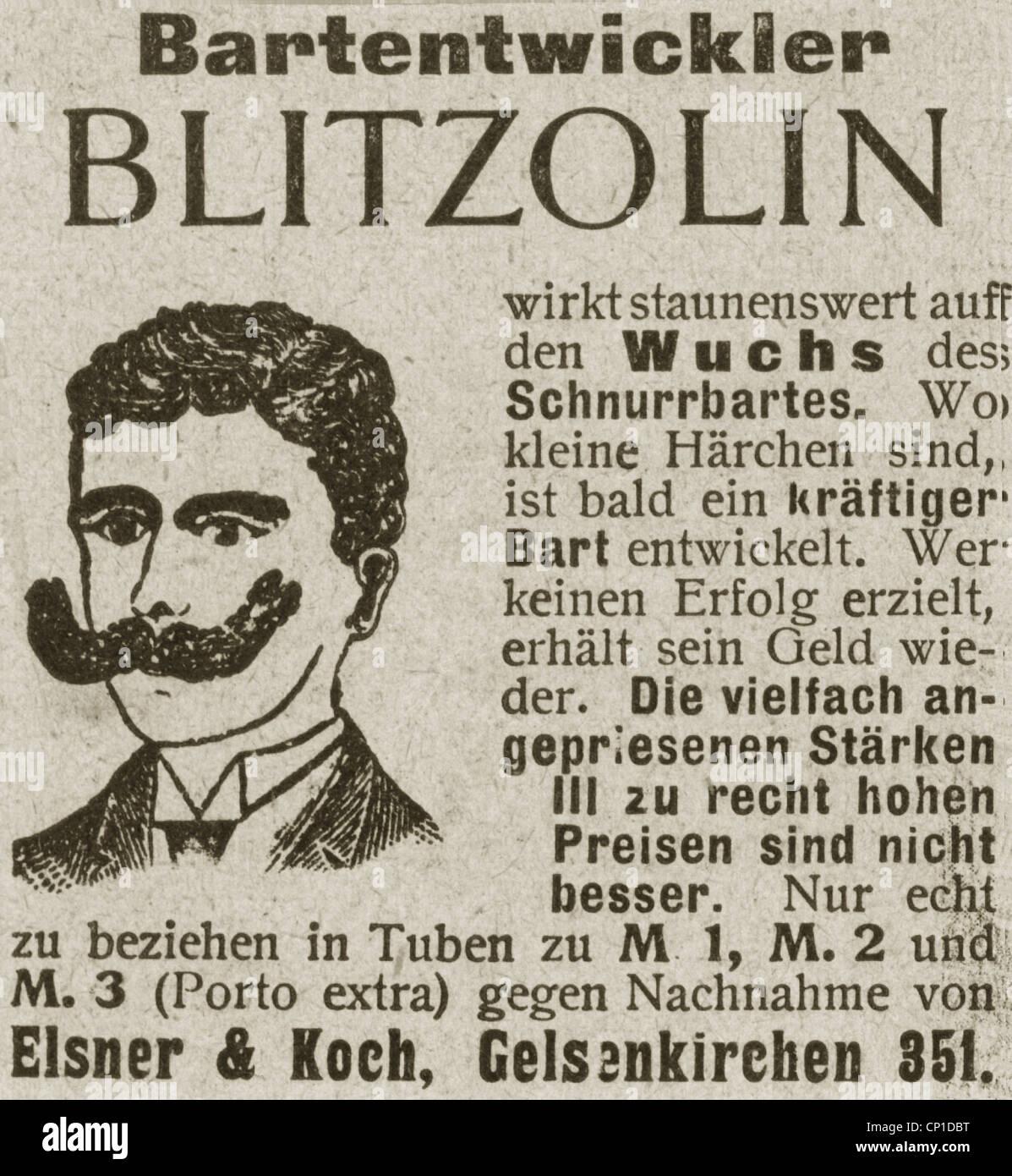 Kosmetik Gelsenkirchen werbung, kosmetik, werbung, bart haarwachstum tonic 'blitzolin', von