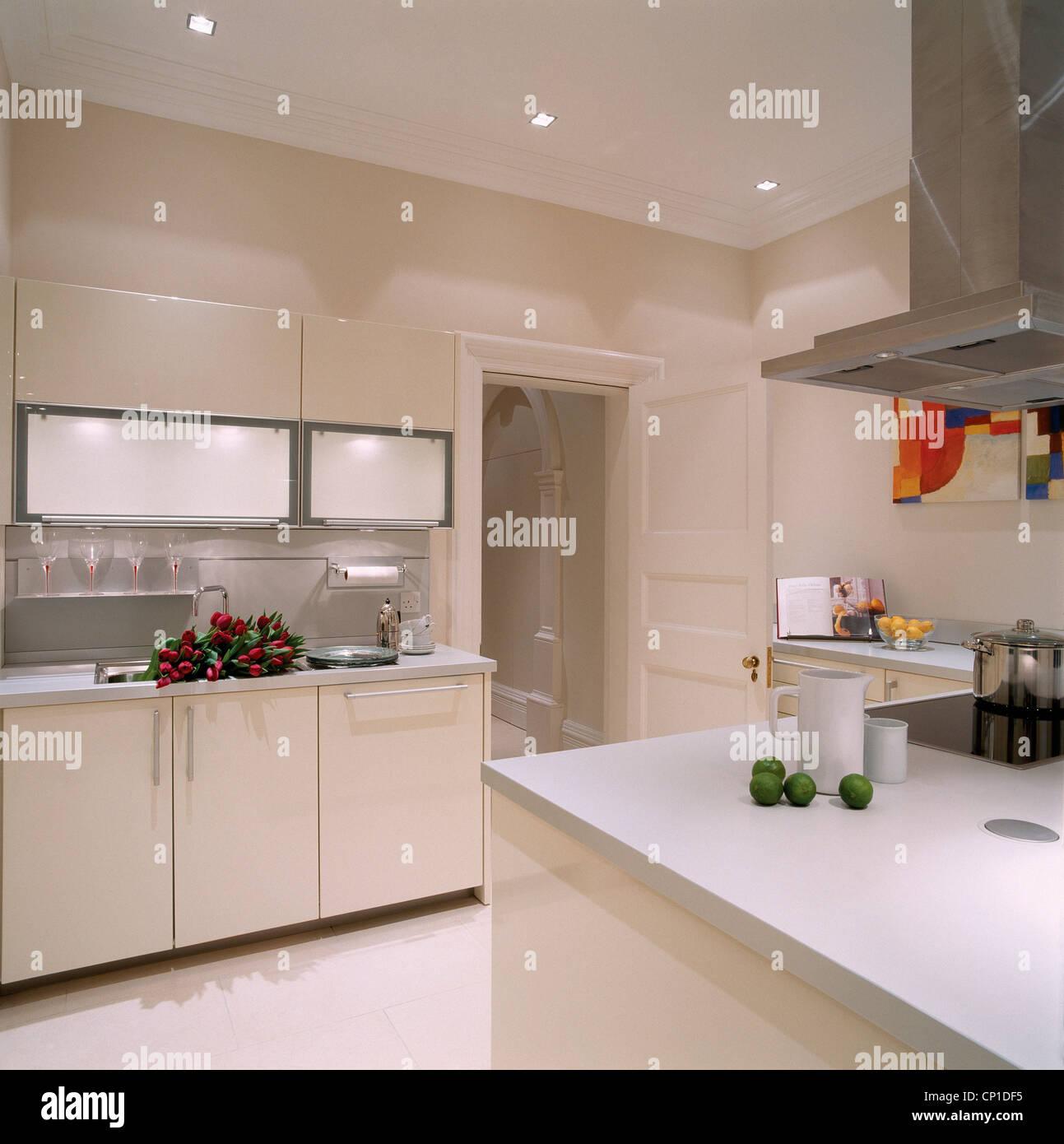 Eine Moderne Weiße Küche Mit Einer Kochinsel, Edelstahl Dunstabzugshaube  über Eine Insel Einheit Mit Einem Elektrischen Herd.