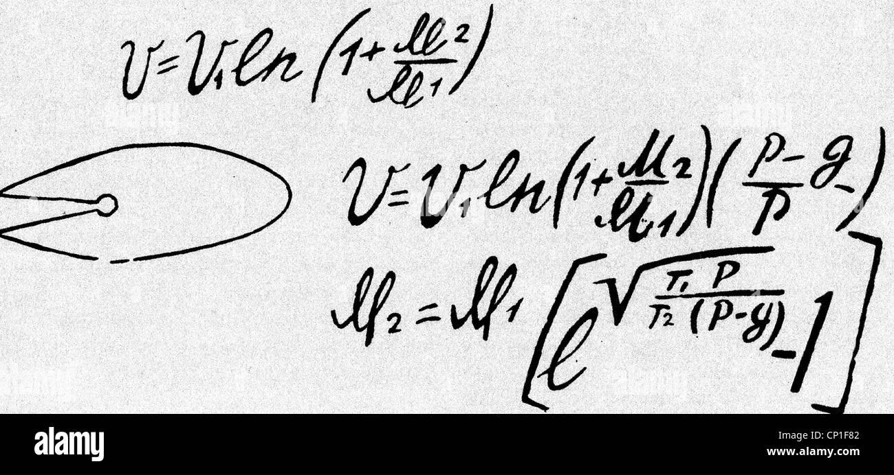 Tsiolkovskii, Konstantin Eduardovich, 17.9.1857 - 19.9.1935, russischer Physiker, Mathematikhistoriker, grundlegende Stockfoto