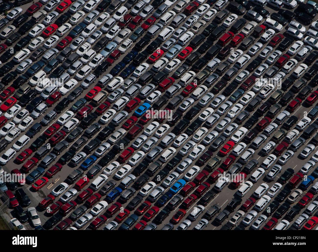 Luftaufnahme geparkten Autos San Mateo County in der Nähe SFO Kalifornien Stockbild