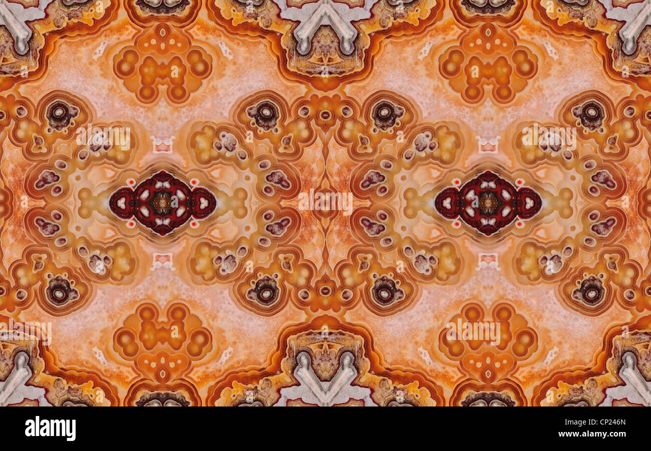 Polierte Scheibe des Jasper (undurchsichtig, feinkörniger Form von Chalcedon) symmetrische Muster durch Wiederholung Stockbild