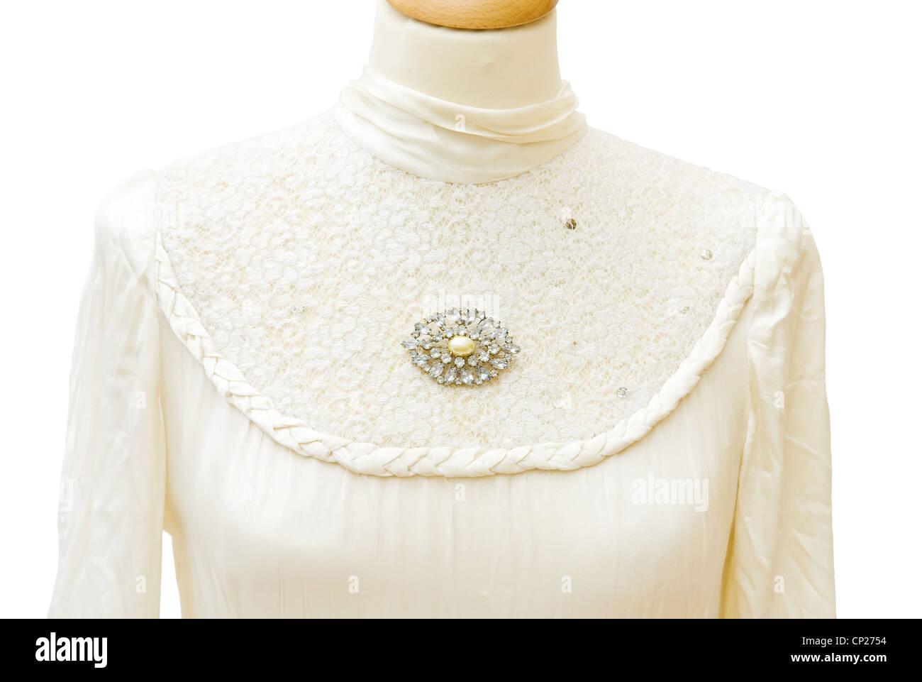 Echte 1930 weiße satin Brautkleid. Schmuck Vintage Brosche mit ...