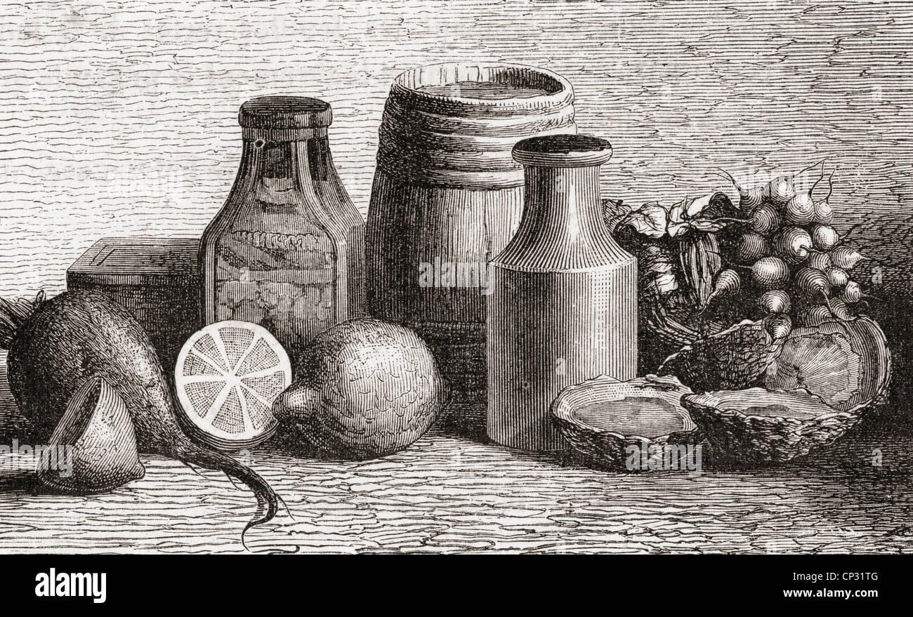 Still-Leben. Drucken Sie aus dem 19. Jahrhundert. Stockbild