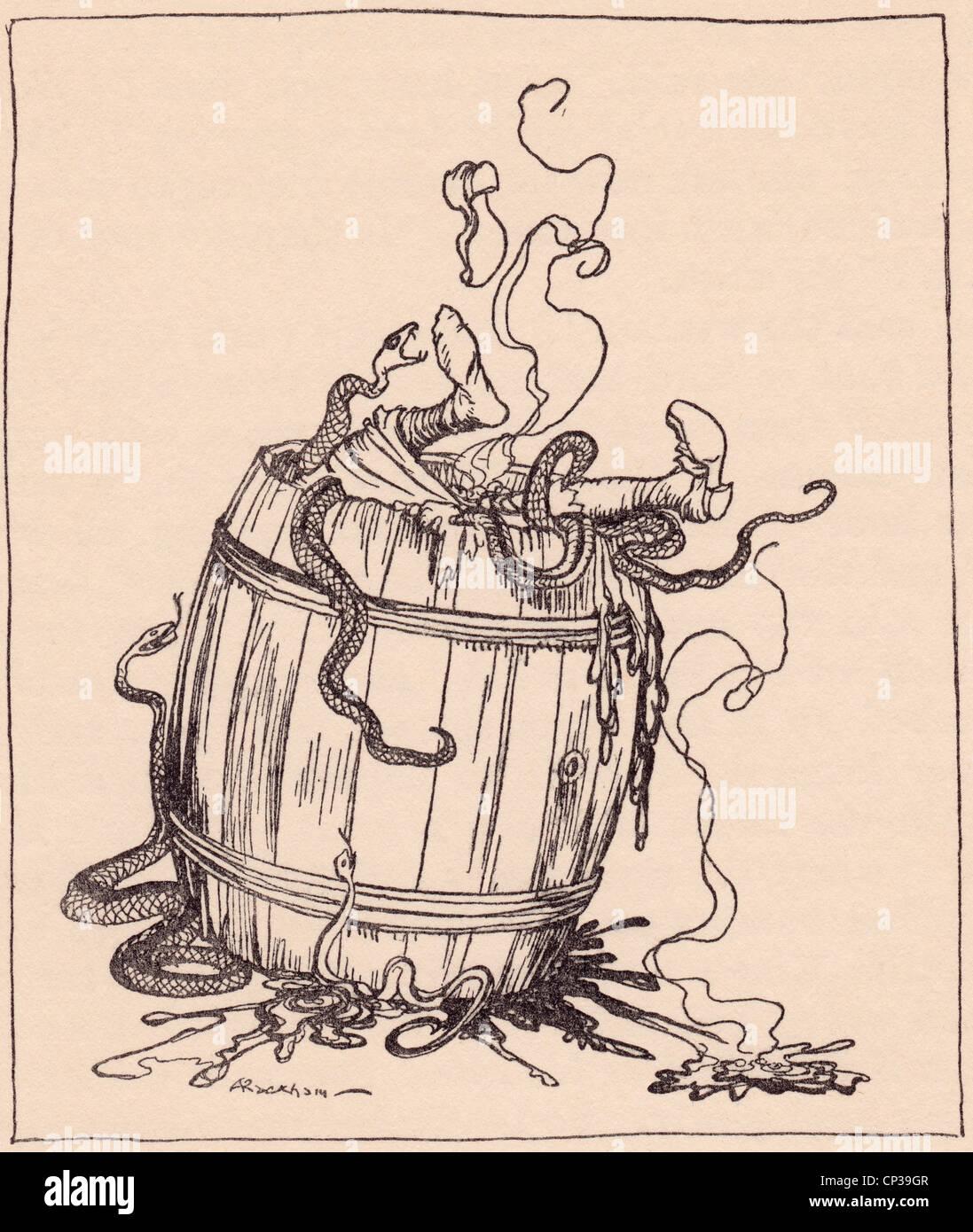 Die böse Schwiegermutter wurde gelegt in ein Fass voller kochendem Öl und giftigen Schlangen. Grimms Märchen. Stockbild