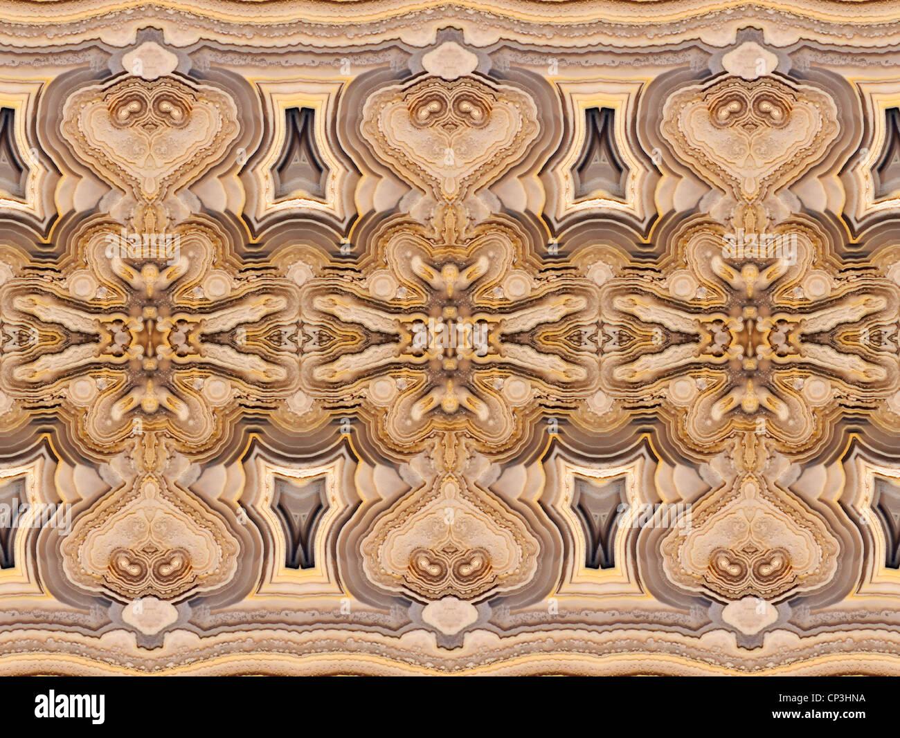 Polierte Scheibe Achat (opak, feinkörnigen Form von Chalcedon) symmetrische Muster durch Wiederholung von Bild Stockbild