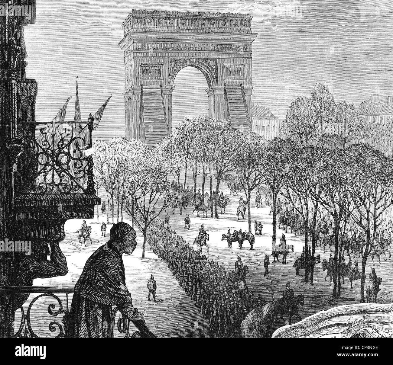Veranstaltungen, preußisch-französischen Krieg 1870-1871, Besetzung von Paris, die deutschen Truppen in die Stadt, Stockfoto