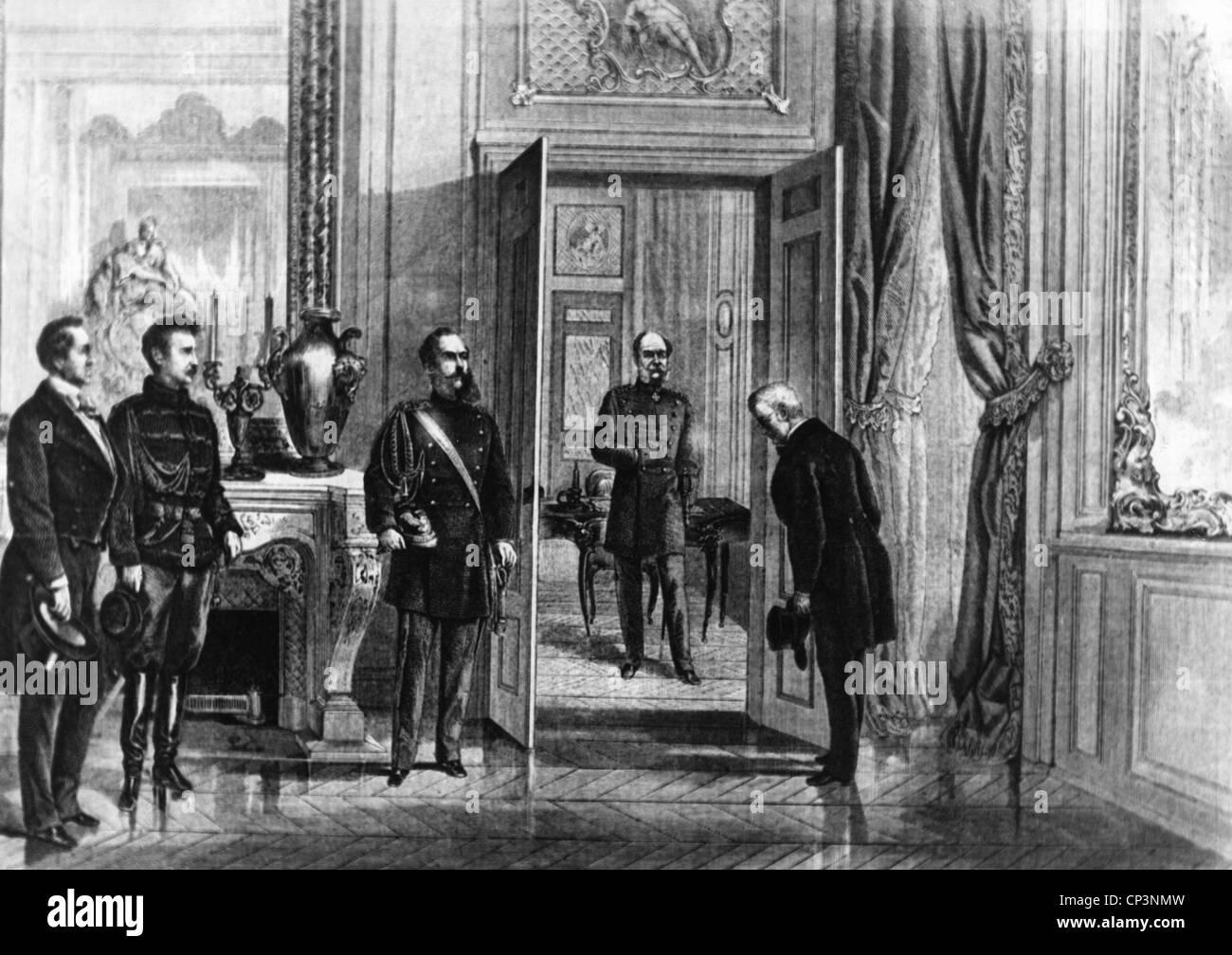 Veranstaltungen, Preußisch-Französischen Krieg 1870 - 1871, Politik, Kaiser Wilhelm I. erhält Adolphe Thiers in Stockfoto