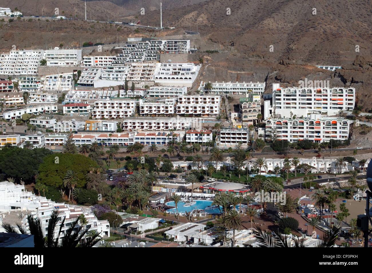 Puerto Rico, Gran Canaria, Kanarische Inseln, Urlaub, Urlaub, Wetter, Tourismus, Sonne, Meer, Entspannung, Stockbild