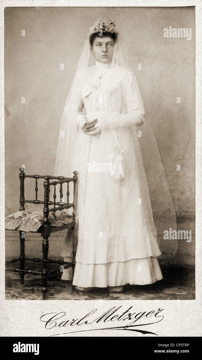 Menschen Ehe Braut Volle Lange Carte De Visite Carl Metzger Strassburg Elsass Etwa Um 1900 Additional Rights