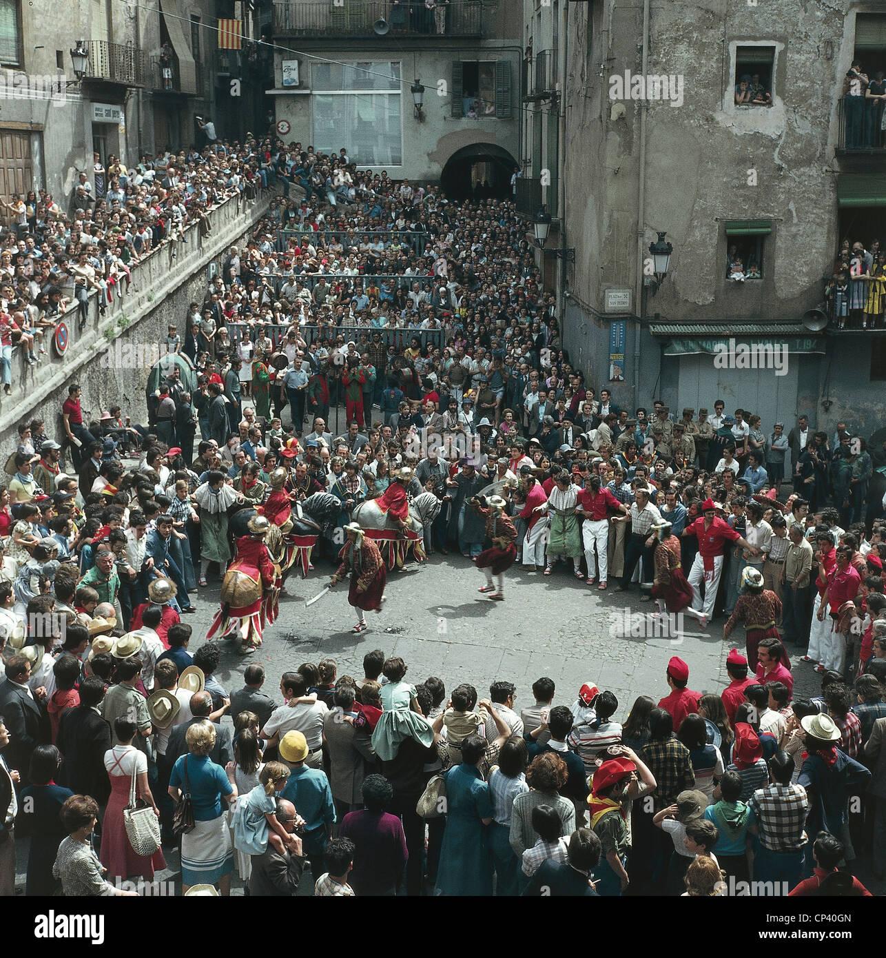 Spanien, Katalonien Berga des 20. Jahrhunderts. Fiesta De La Patum de Berga (mündliche immateriellen Erbes Stockbild
