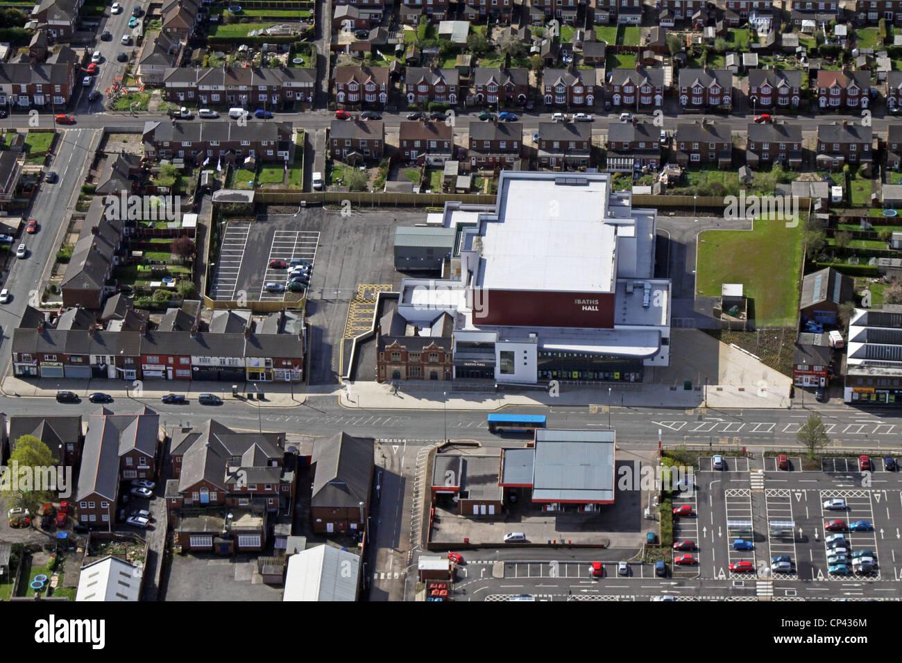 Luftaufnahme von The Bad Hall Veranstaltungshalle, Scunthorpe Stockbild