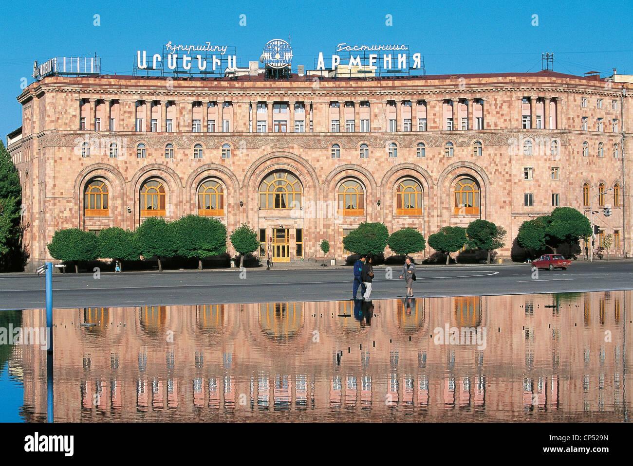 Armenien der neunziger Jahre des 20. Jahrhunderts - Eriwan - Piazza della Repubblica. Hotel Armenia Stockbild