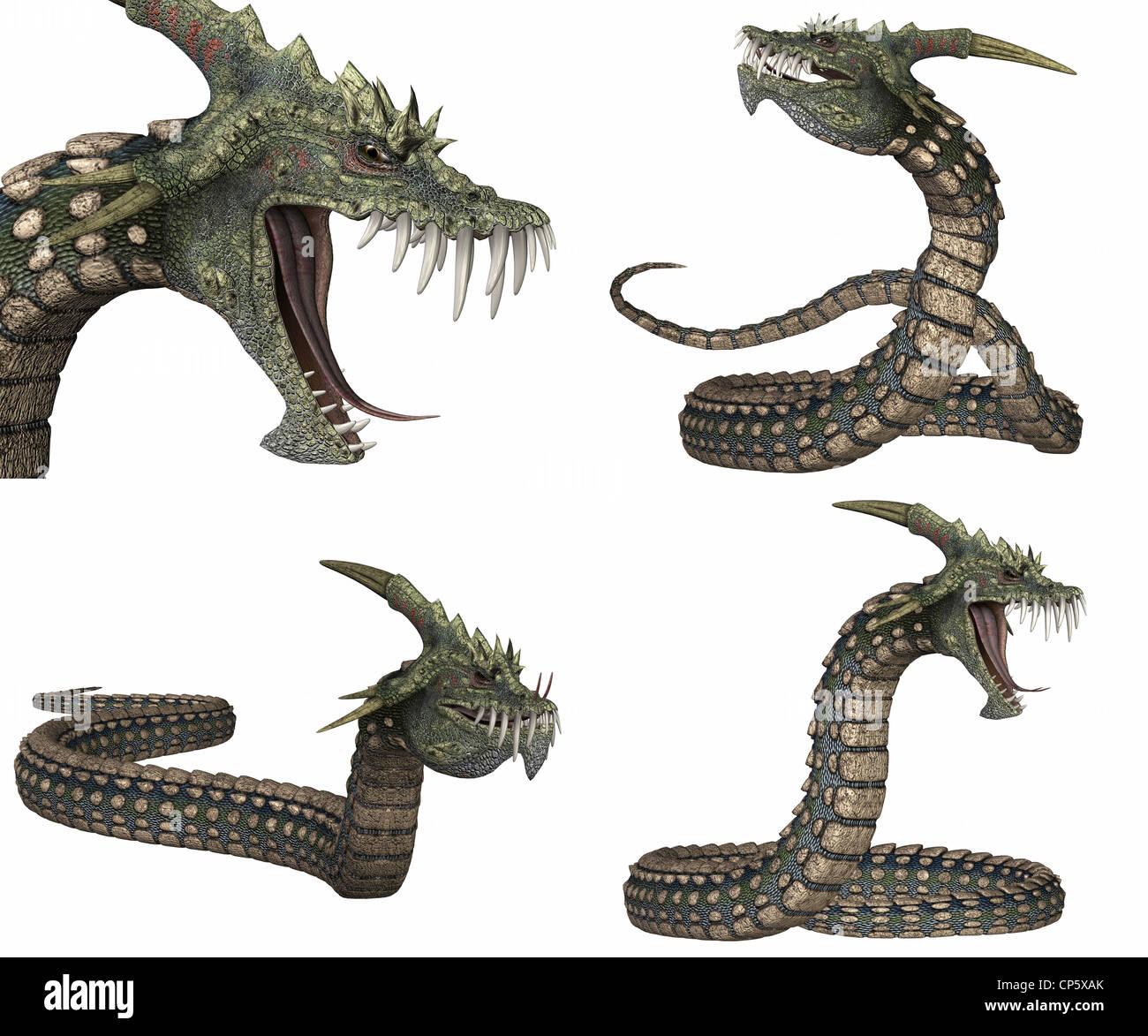 Beispiel für ein Paket von vier 4 Kreaturen mit verschiedenen Posen isoliert auf weißem Hintergrund Stockbild