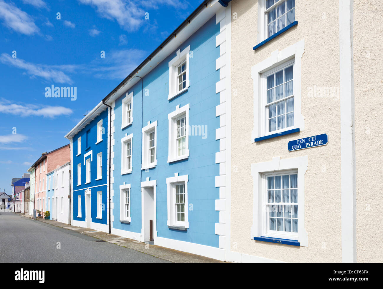 farbige Häuser Aberaeron Mid Wales Ceredigion Küste UK GB EU Europa Stockbild