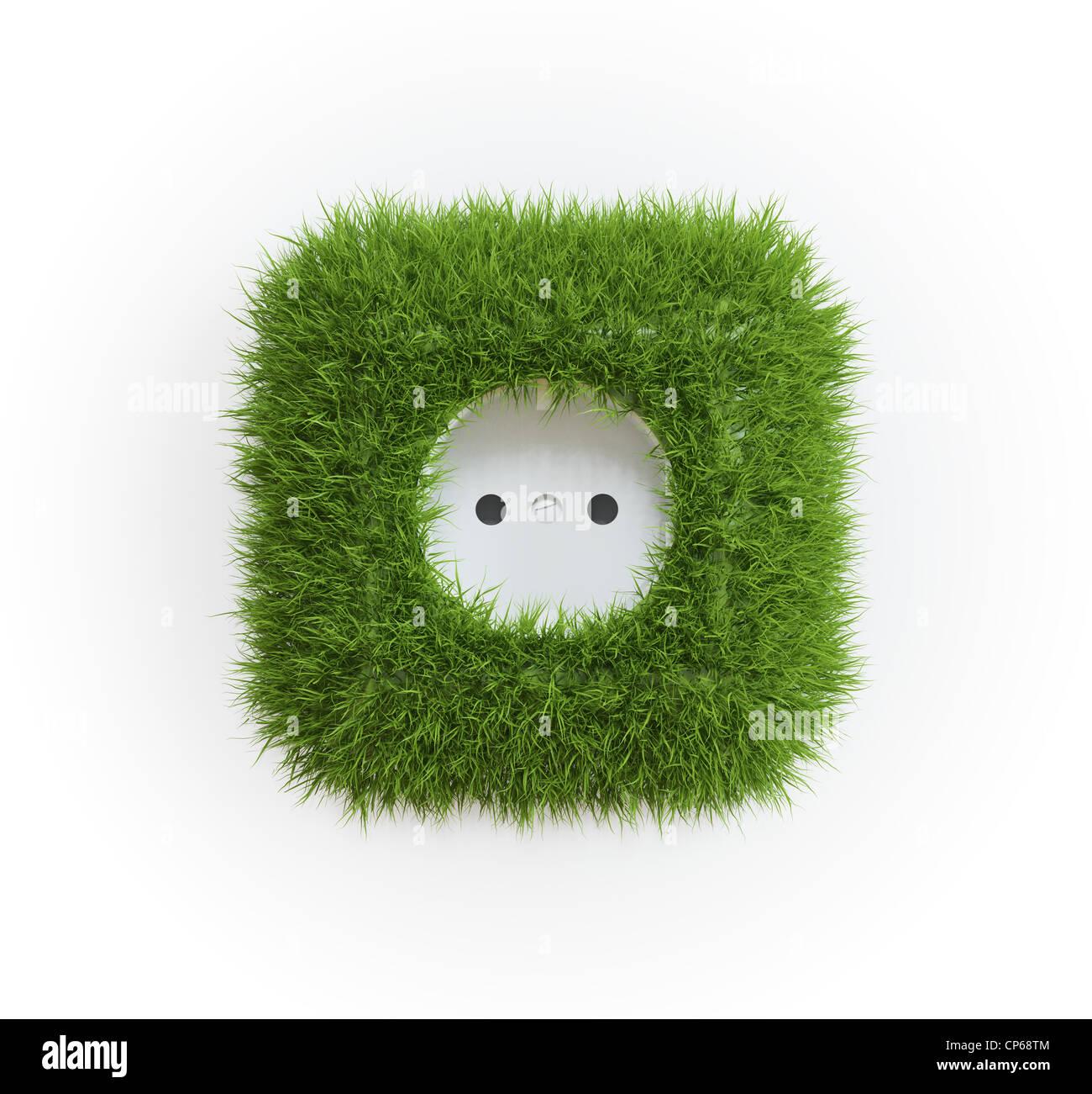 Grass bedeckt Outlet - erneuerbare Energie-Konzept Stockbild