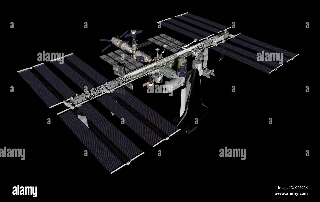 Computer-generierte Künstler ist von der internationalen Raumstation ISS ab März 2011 rendern. Stockbild