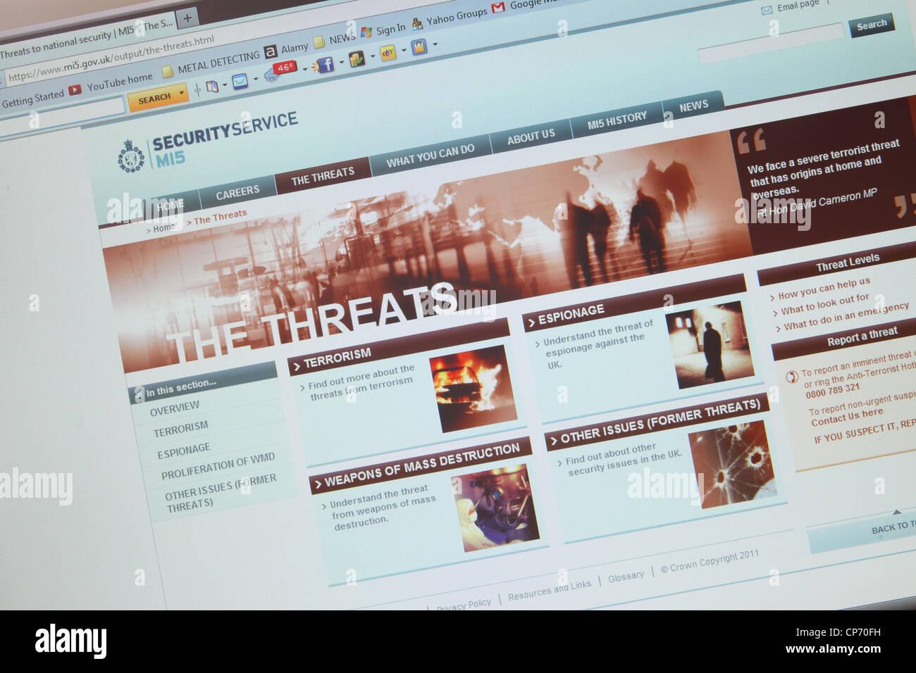 MI5 Webseite Www UK Bedrohung Informationen Webseite Stockbild