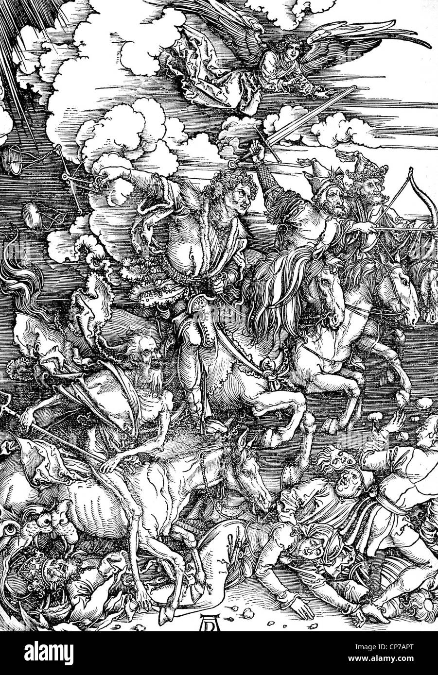 """Holzschnitt, Kupferstich von Künstler Albrert Durer mit dem Titel """"die Offenbarung des Heiligen Johannes: Stockbild"""
