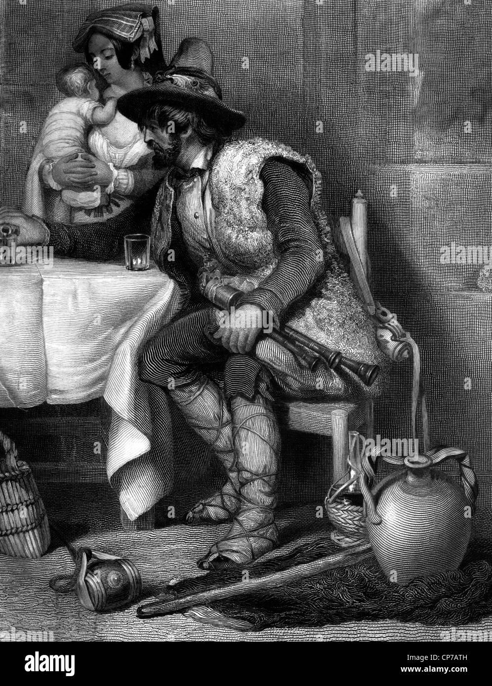 Gravur der mittleren gealterten italienische Ziegenhirten saß am Tisch mit Wein, Frau und Kind im Hintergrund. Stockbild