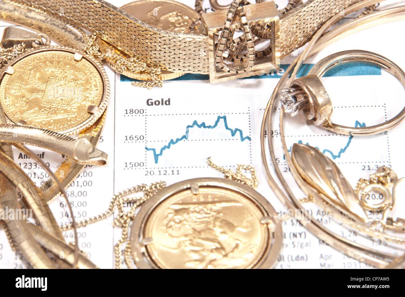 Alten Schmuck Und Gold Münzen Mit Gedruckten Gold Chart Im
