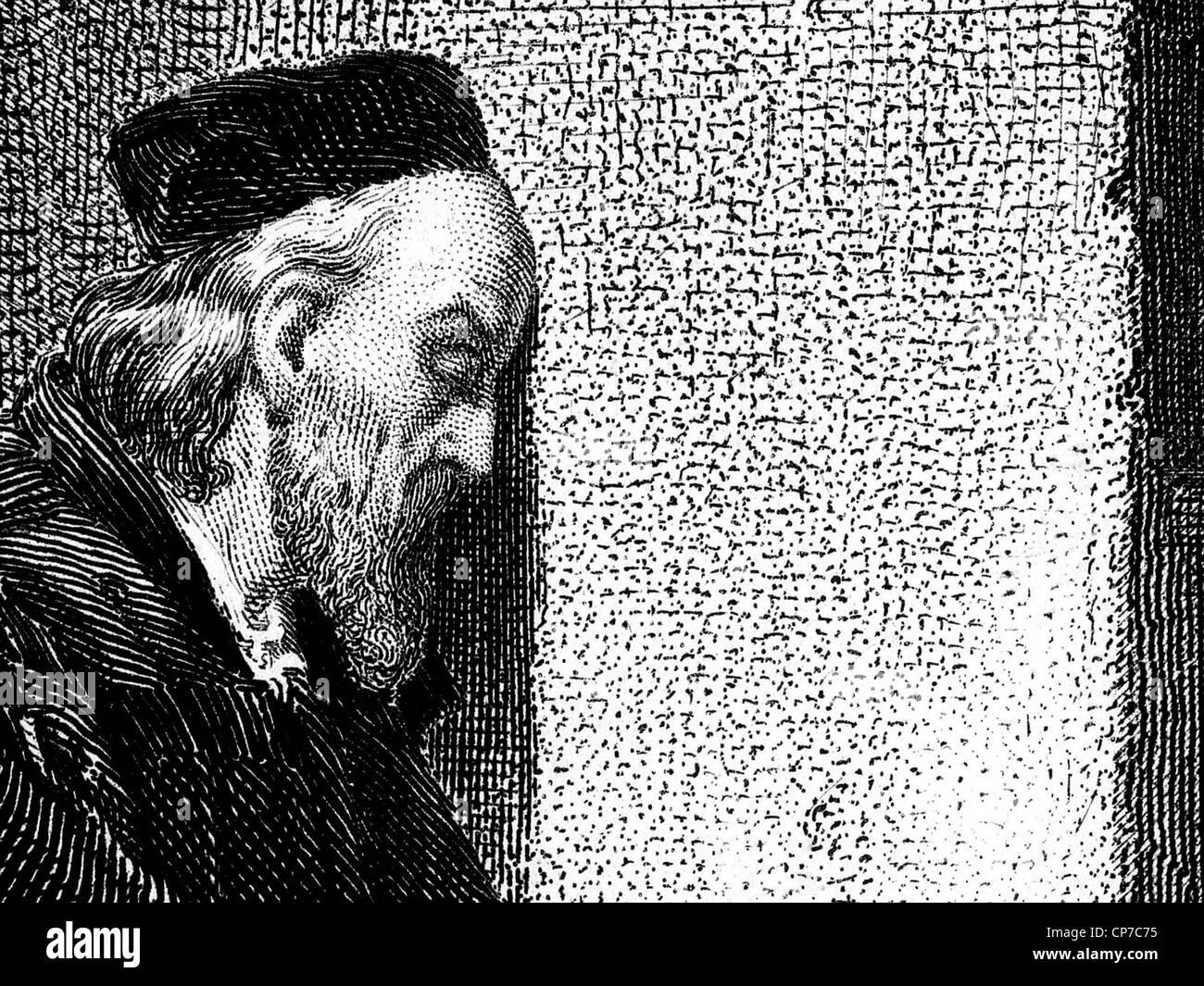 Holzschnitt-Gravur von Sir oder Saint Thomas Moore, englischer Jurist, Sozialphilosoph, Schriftsteller und Staatsmann. Stockbild
