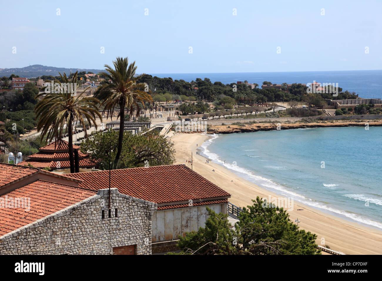 Blick auf den Strand in Tarragona, Spanien Stockbild