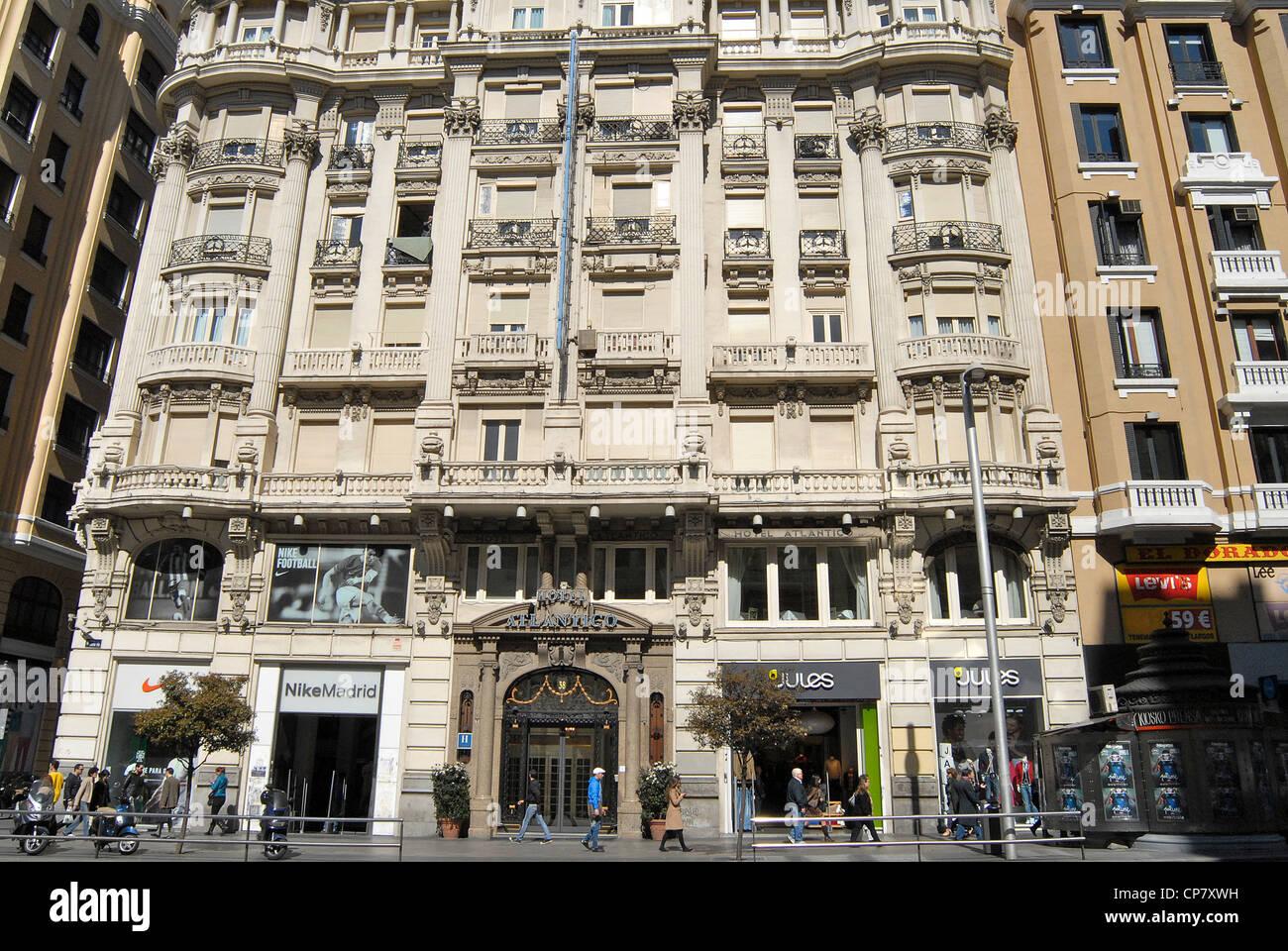Barockbau Hotel Atlantico Gran Via Madrid Spanien Stockbild
