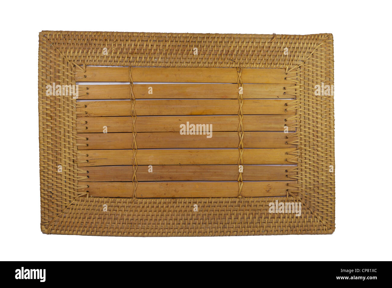 Nahaufnahme Bild Von Einem Bambus Tischset Mit Wooven Ratan Rand