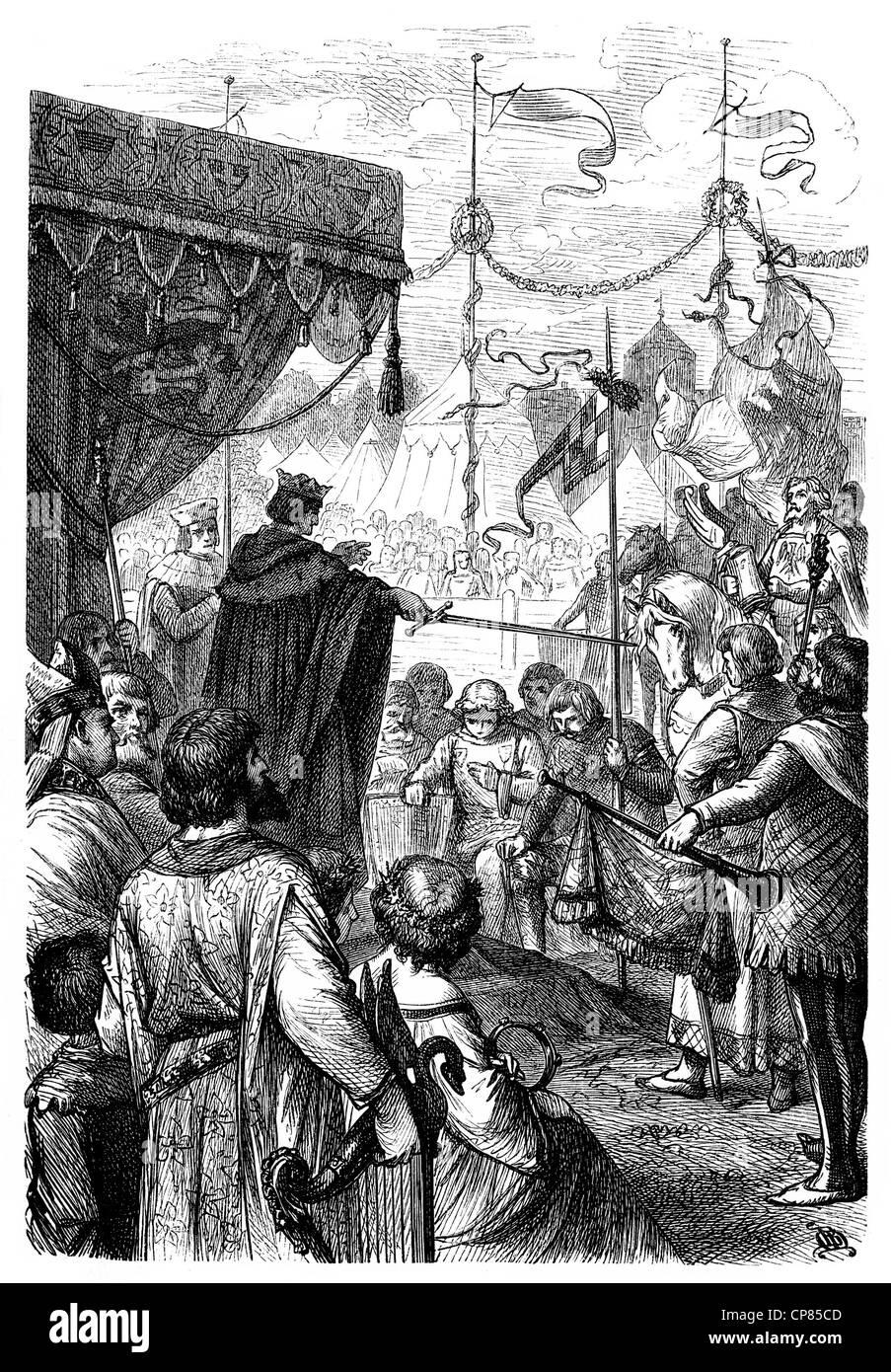 Auszeichnung im 15. Jahrhundert, Ritterschlag Im 15. Halbmonatsschrift, Historischer Stich Stockbild