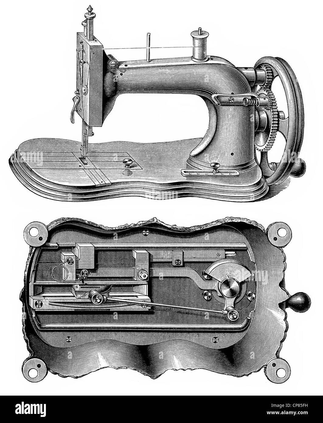schematische Zeichnung einer Nähmaschine Singer System, 19 ...