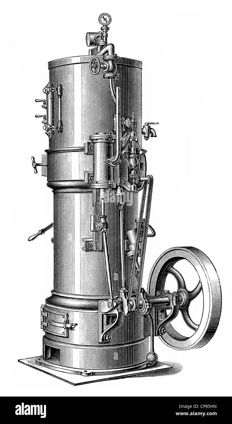 Vertikale Dampfkessel Dampfmaschine, Kolben Wärmekraftmaschine, die ...