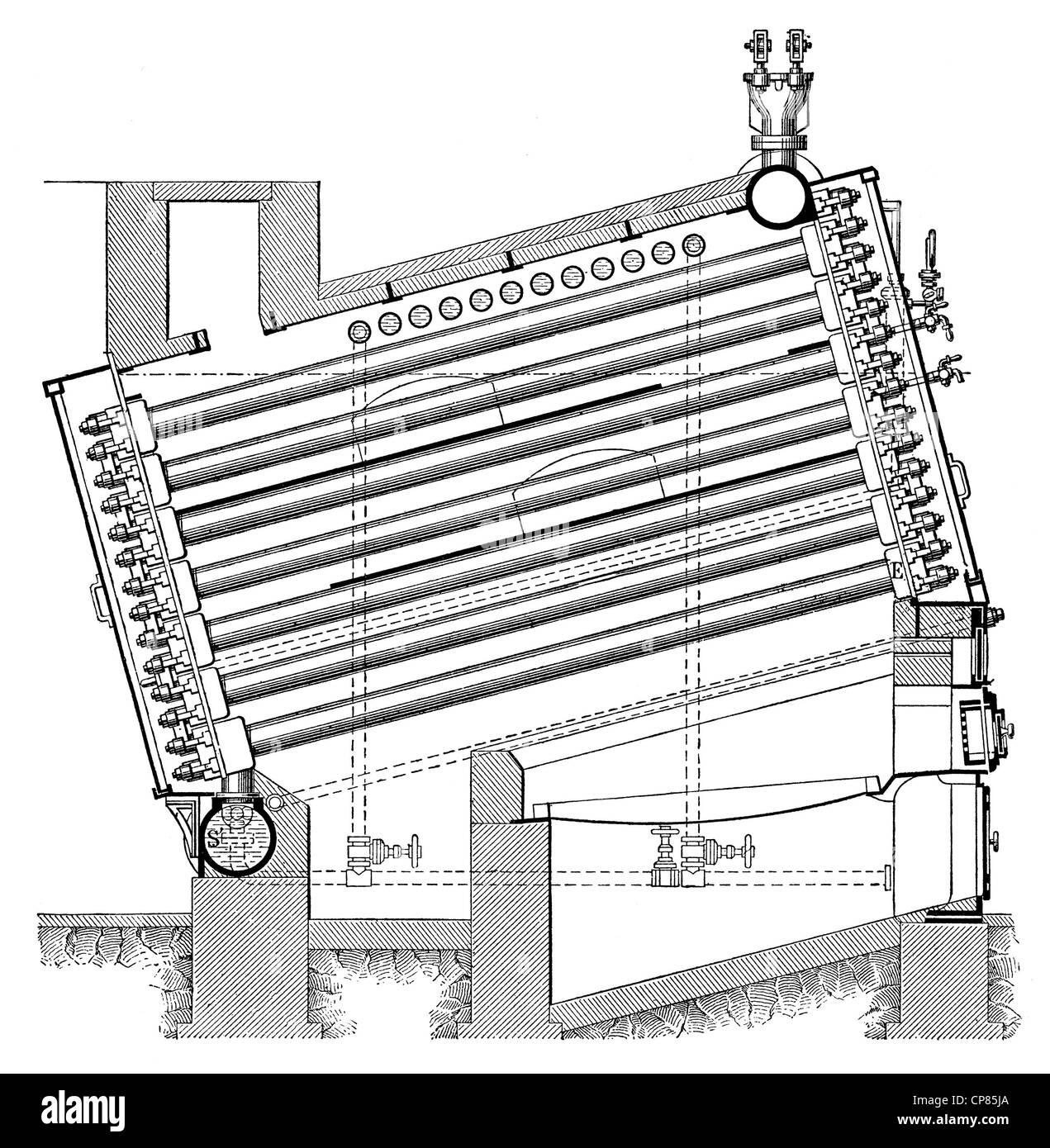 Rootscher Rohr Wasserkocher, Dampfkessel, Dampf, 19. Jahrhundert ...