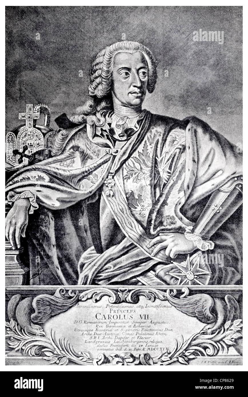 Karl Albrecht von Bavaria, 1697-1745, Kupferstich aus dem 18. Jahrhundert, Kupferstich aus Dem 18. Halbmonatsschrift, Stockbild