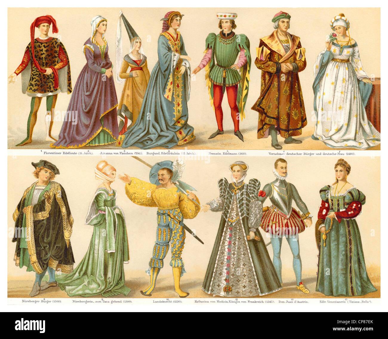 Kostüme, Mode, Bekleidung, 15. und 16. Jahrhundert, Historische, Zeichnerische Darstellung, 19. Halbmonatsschrift, Stockbild