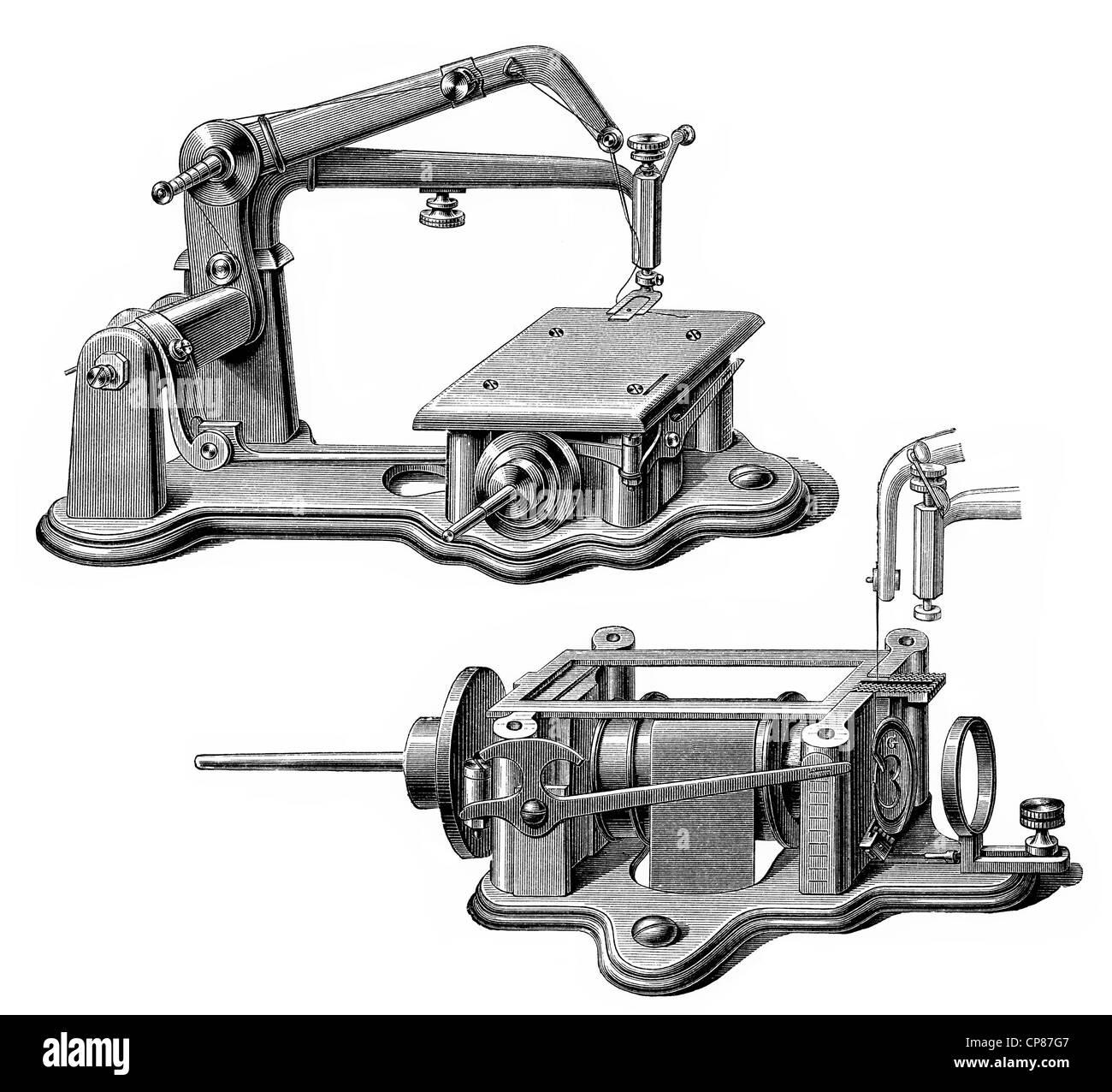 schematische Zeichnung einer Nähmaschine Wheeler-Wilson System, 19 ...